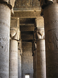 Hathor-headed colmns at Dendera