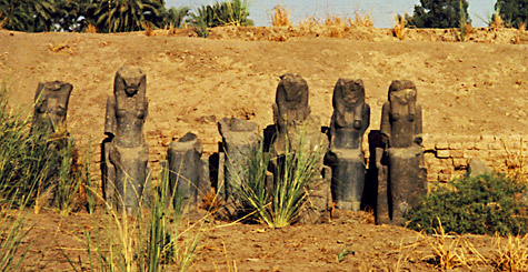 Sekmet statues in the Karnak Temple of Mut