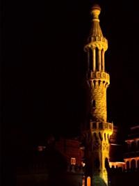 Floodlit minaret