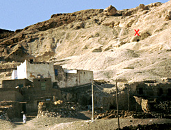 The tomb of Senneferi high on the Qurna hillside