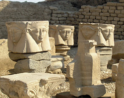 Hathor column heads at Dendera