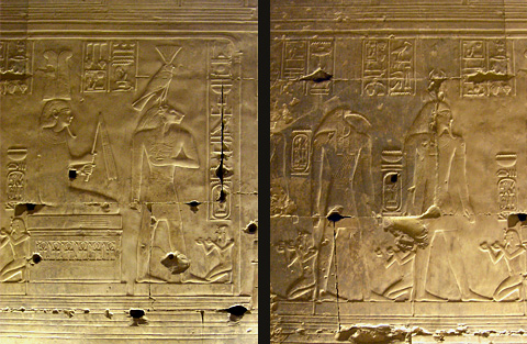 Seti with Khepri, Seth and Nefertem in the Ptah-Sokar Hall