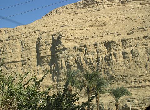 Sheer limestone cliffs at el-Badari