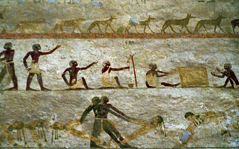 The desert hunt, weavers and spinners, and acrobats