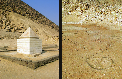 Pyramidion and tree pits in the mortuary temple
