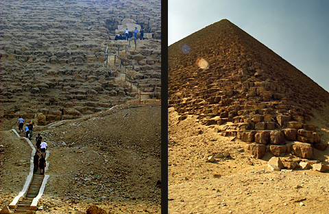 Pyramid entrance and north-east corner