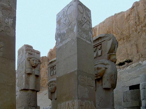 Hathor-headed columns in the chapel