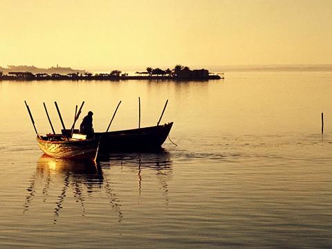 Fishing at sunset on Birket Qarun