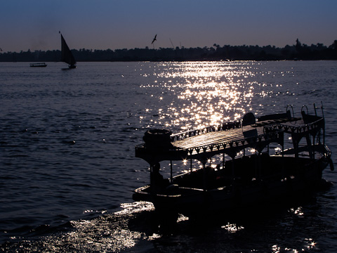 Crossing the Nile by motorboat