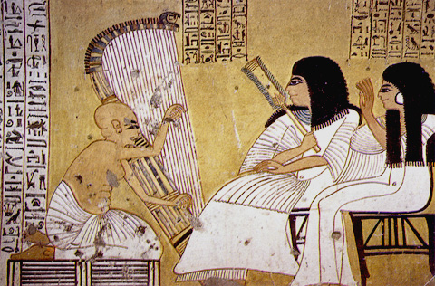 A blind harpist before Inherkau and his wife