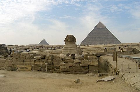 Khafre's pyramid, causeway and sphinx
