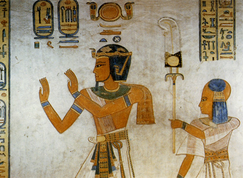 Khaemwaset with his father rameses III