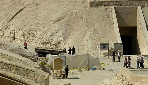 Excavations at KV63 with KV10 behind