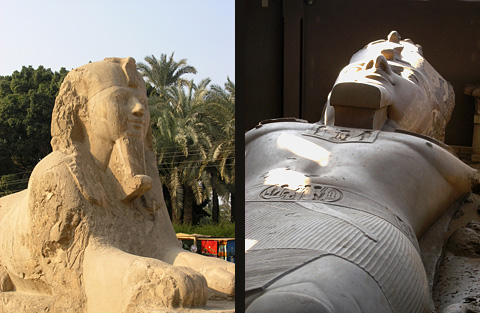 Alabaster Sphinx and Statue of Rameses II