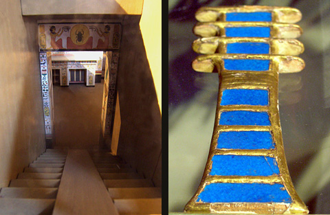 Model of Nefertari's tomb and Djed pillar