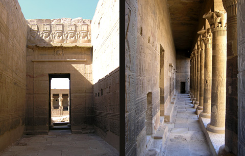 Colonnade and corridor at Philae Temple