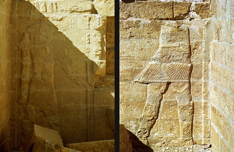 Reliefs of Sobek and an un-named king on the temple roof