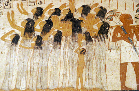 Female mourners in the funerary procession