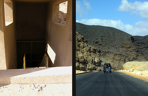 Entrance to the Royal Tomb and the new road through the wadi.