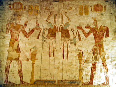 Double Osiris scene above burial chamber