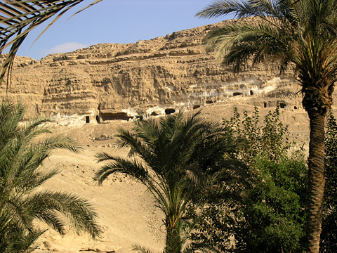 Quarries high in the cliffs at el-Shekh Said