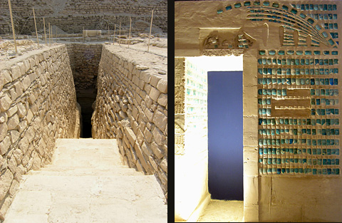 Pyramid entrance and reconstructed wall (Imhotep Museum)