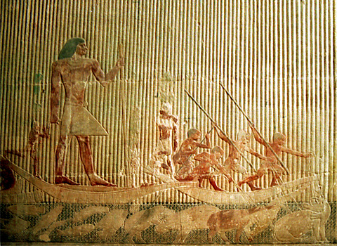 Ti fishing in a papyrus boat