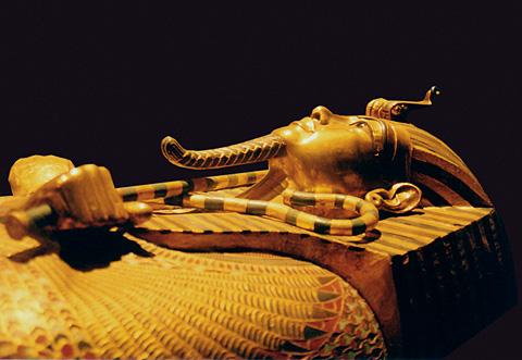 Tutankhamun's golden coffin in Cairo Museum