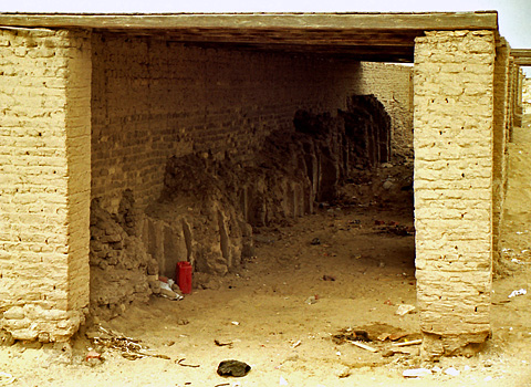 Recently excavated mastaba under protective walls