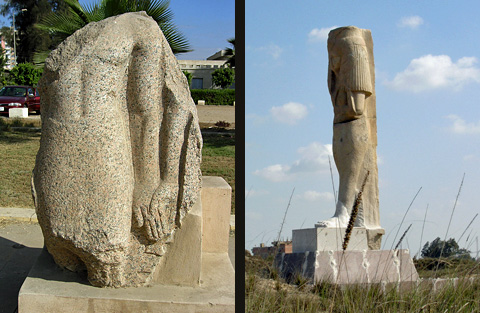 Statue dyad and Statue of Meritamun