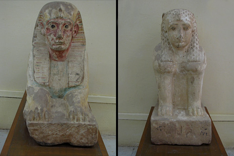 Sphinxes in Kharga Museum from Deir el-Hagar