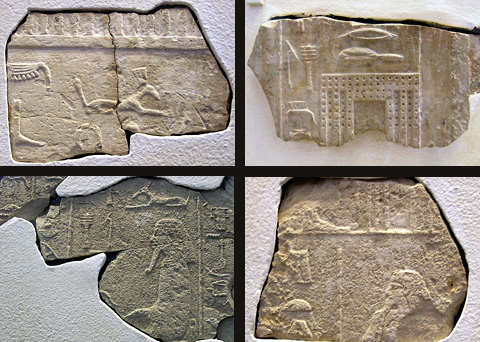Relief fragments from the temple at Heliopolis dedicated by Djoser Netjerikhet. (Museo Egizio Turin)