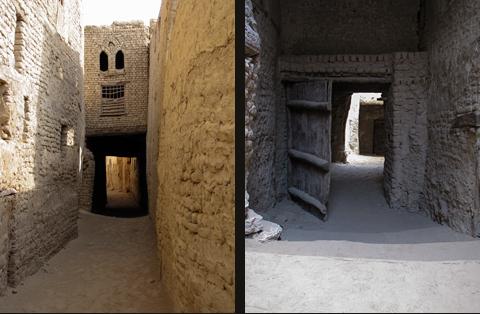 Narrow alleyways in el-Qasr