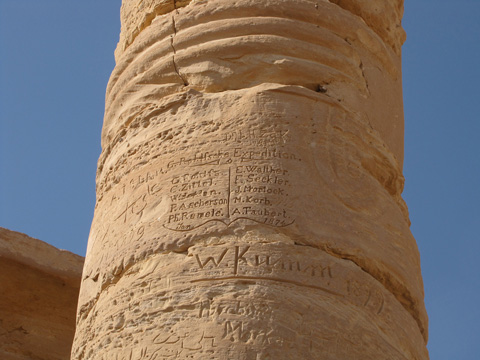 Column graffiti with the names of Rohlfs Expedition