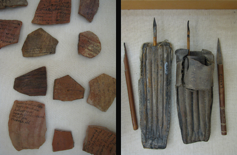 Ostraca and Scribal instruments