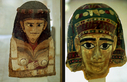Gilded mummy masks from Qasr el-Labekha (Kharha Museum)